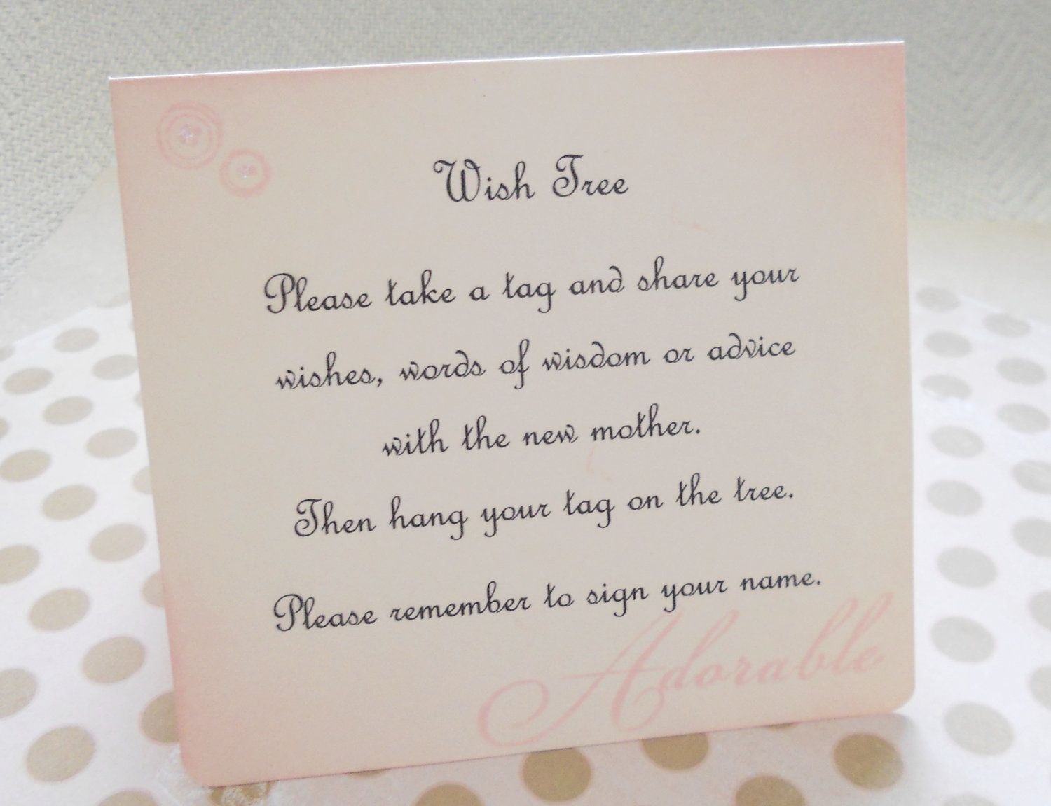Wish card instruction sign baby shower wish by PiccadillyStation, $4.00