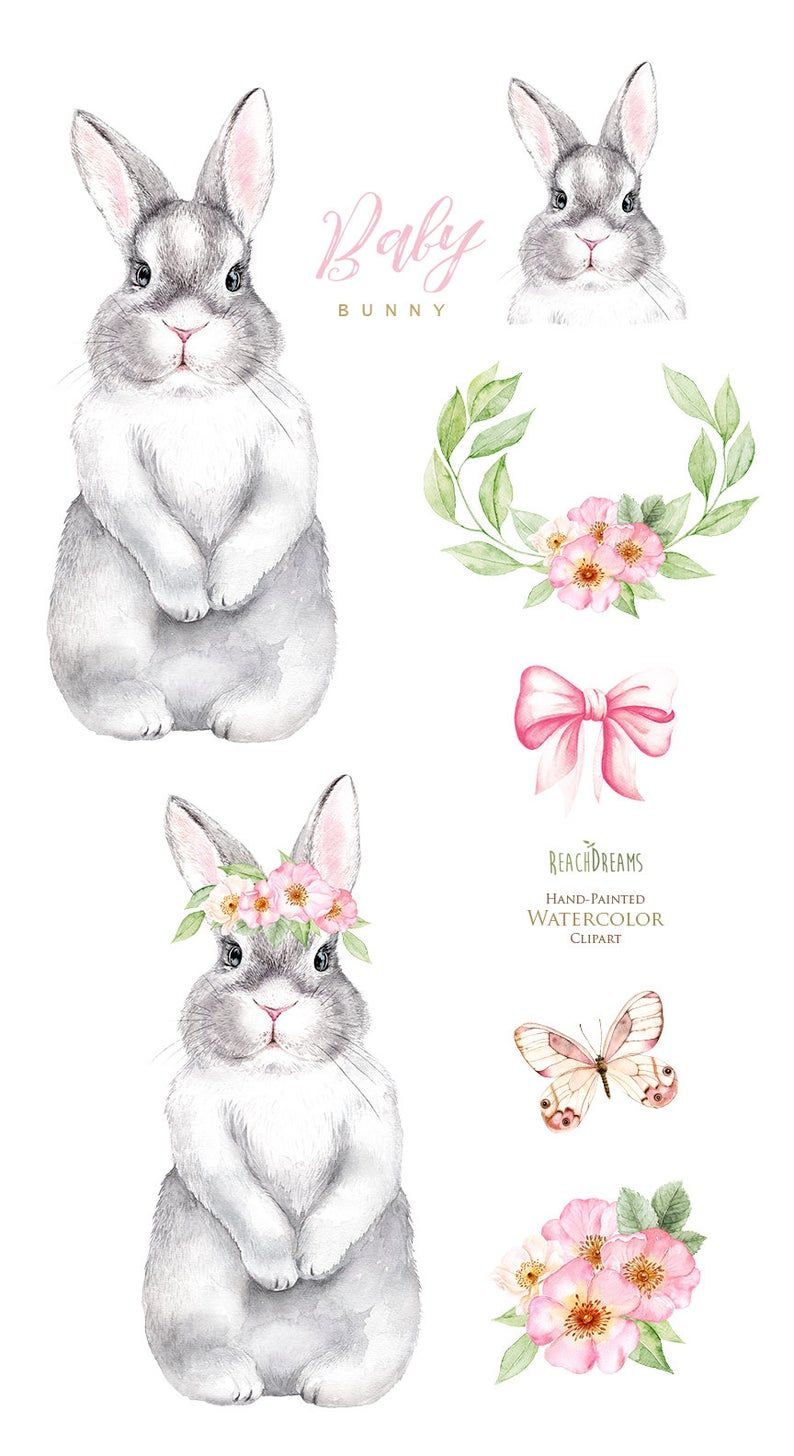 Watercolor Bunny. Little animals clipart, rabbit,