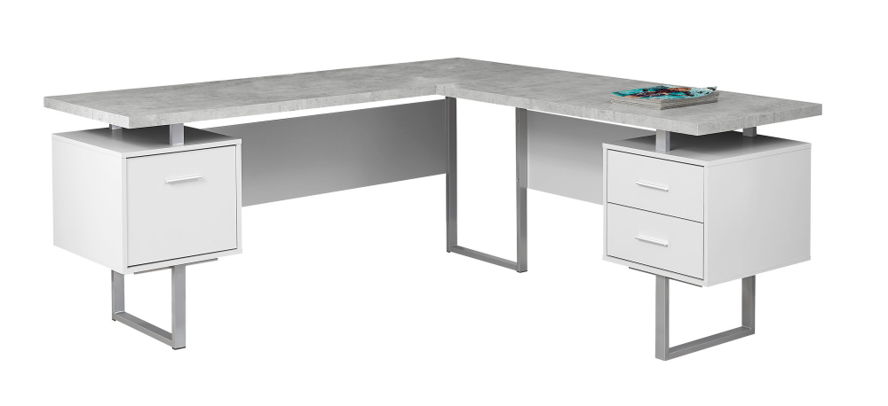 Computer Desk 70 L White Cement Look Left Right Face Walmart Com White Computer Desk Office Desk Desk