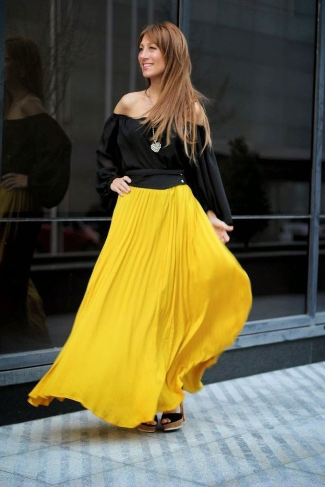 63065ab0d NWT ZARA LONG FINE PLEAT SKIRT ACCORDION PLEATED MAXI YELLOW MUSTARD  FLOWING S #ZARA #Pleated