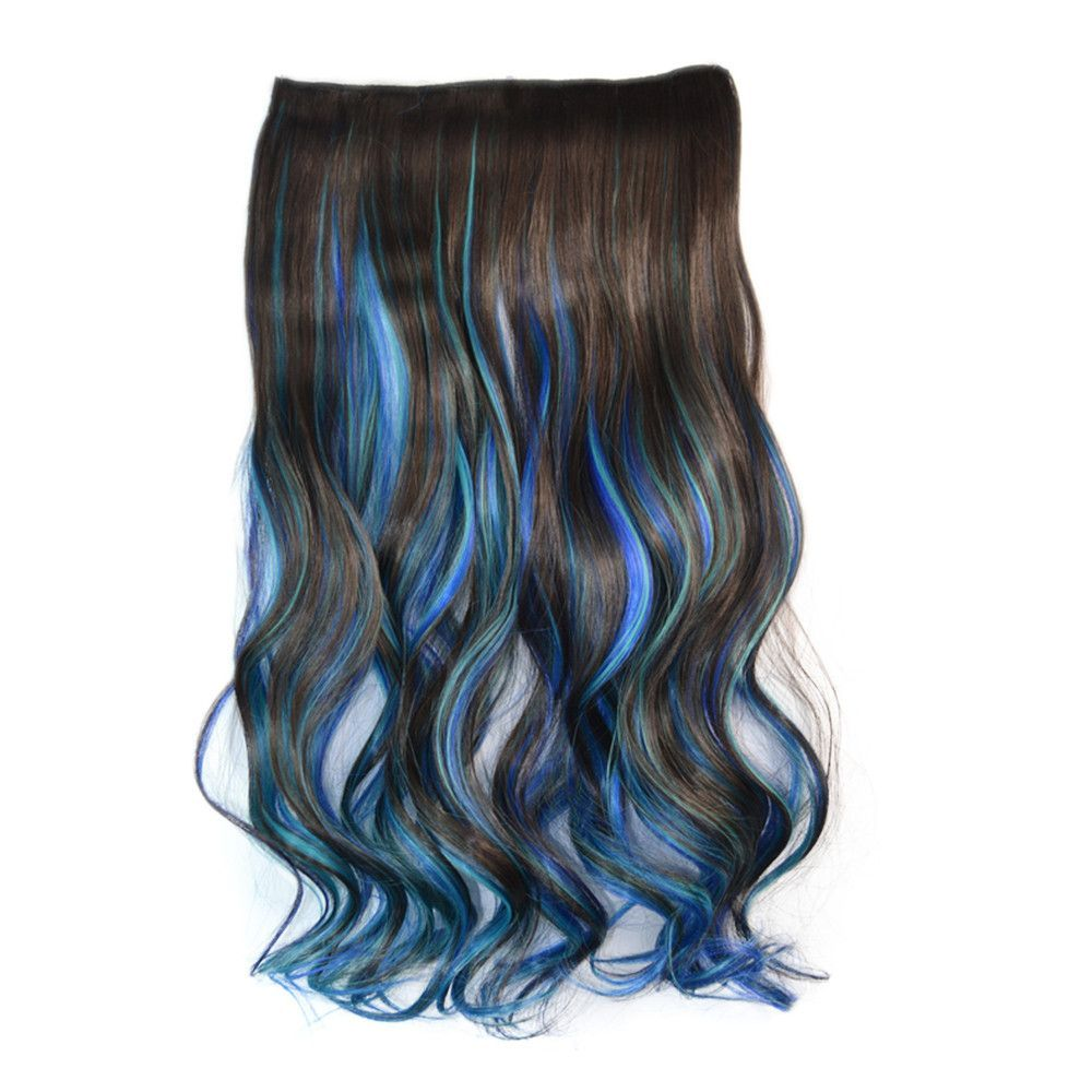 5 Cards Wig Piece Hair Extension Highlights Dark Brown Sky Blue