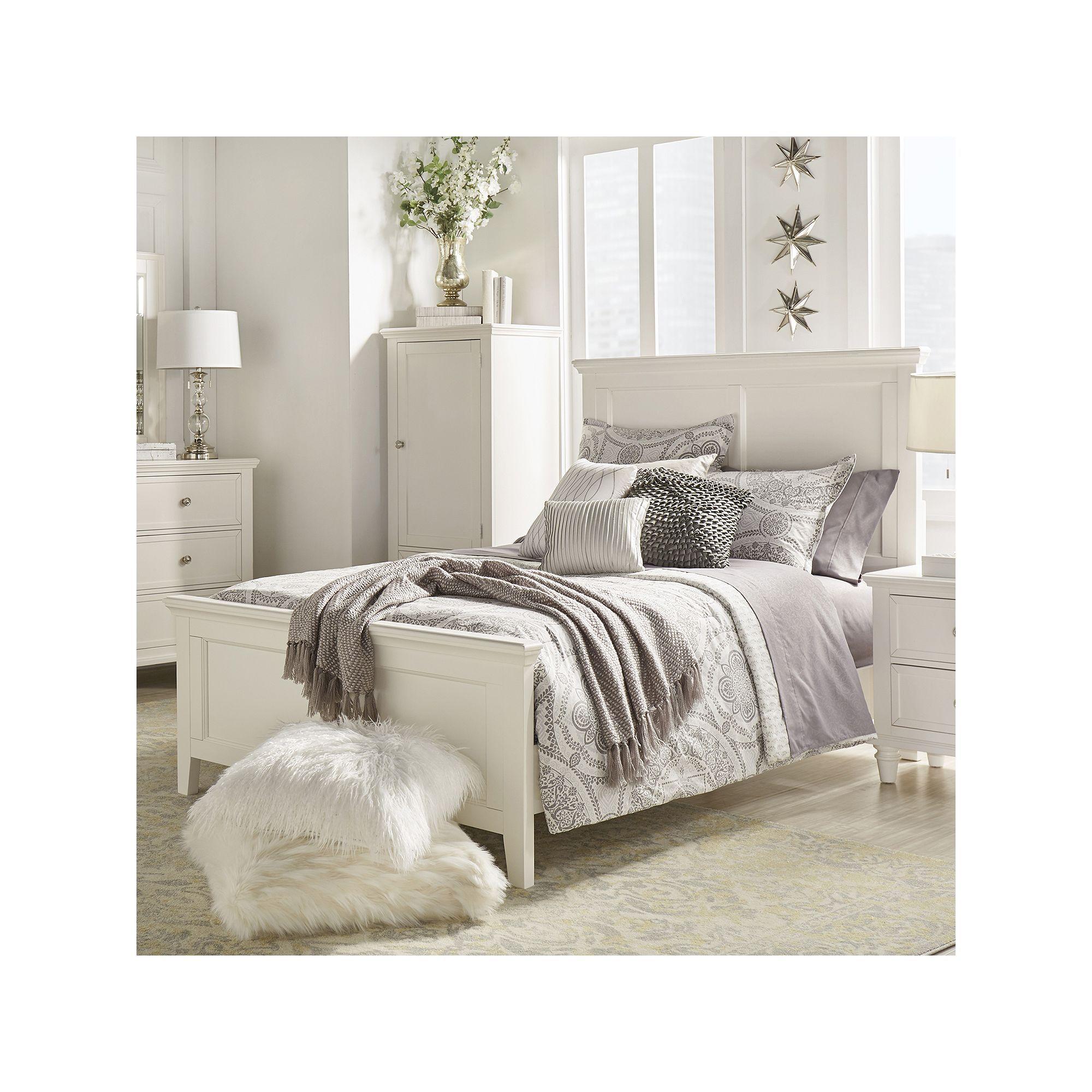 HomeVance Augustine Paneled Bed, White White bedroom