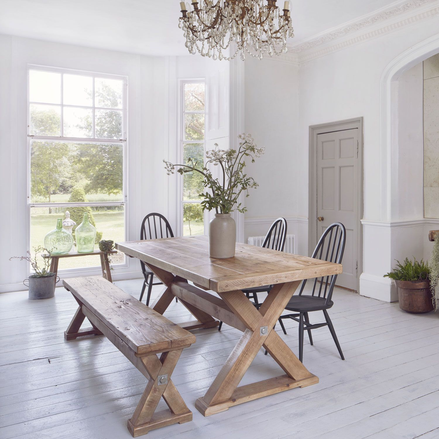 Reclaimed Wood Plank Trestle Dining Table | Trestle dining tables ...