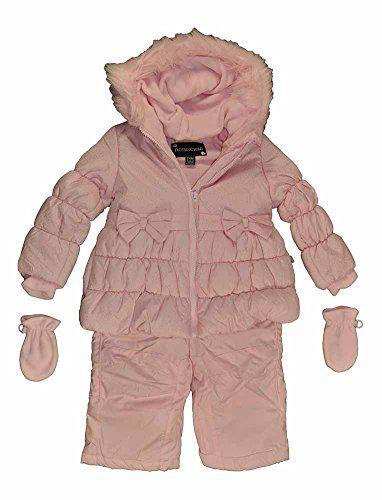 a45c7659a8d1 Rothschild Infant Girls Petal Pink 2pc Snowsuit WMittens 24M    Be ...
