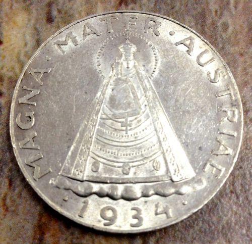 1934 5 Schilling Magna Mater Austria Silver Coin Brilliant Unc No