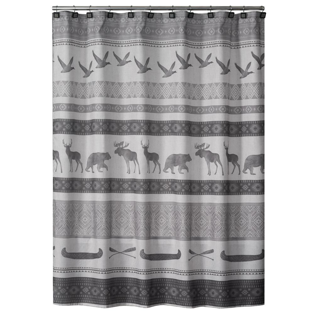Saturday Knight 72 In Gray Wilderness Calling Fabric Shower