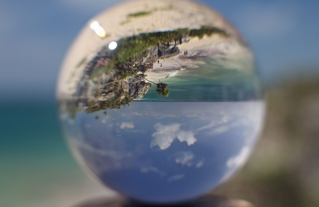 Tulum Beach in a Ball The magical beach of the Tulum Ruins reflecting in a ball shared with pixbuf.com
