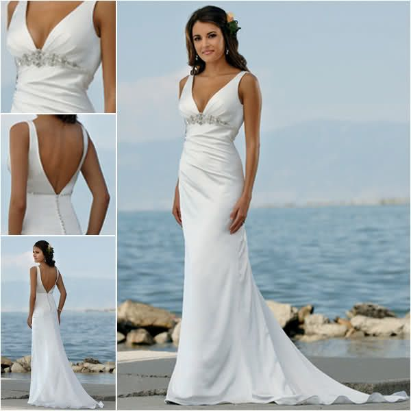 Inexpensive beach wedding dress designs backless and sweetheart ...