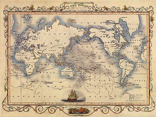 S THE WORLD MAP VOYAGES CAPTAIN COOK LARGE VINTAGE POSTER By - Large vintage world map poster