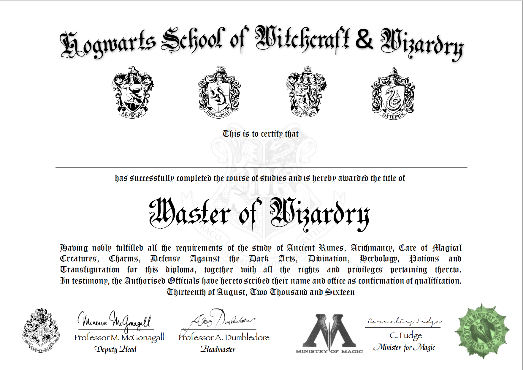 Free Certificate Of Hogwarts To Download And Use