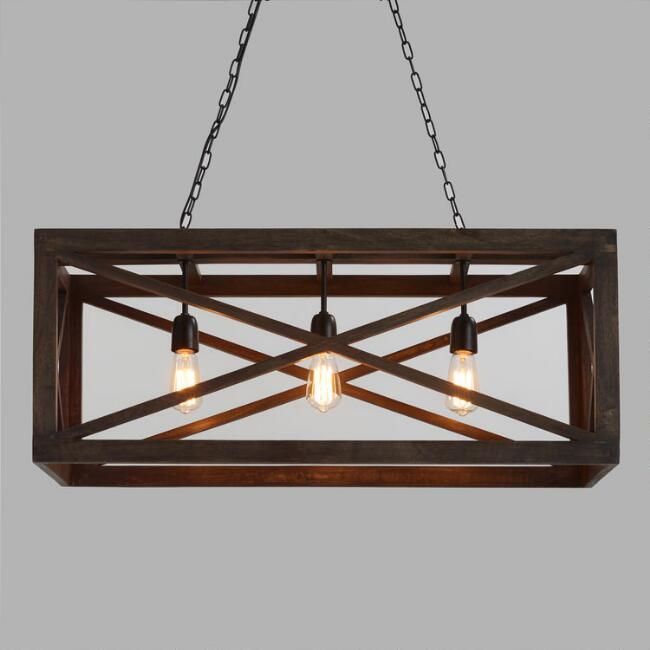 Rectangular Gray Wood 3 Light Valencia Chandelier World Market Rustic Kitchen Lighting Farmhouse Light Fixtures Dining Room Light Fixtures