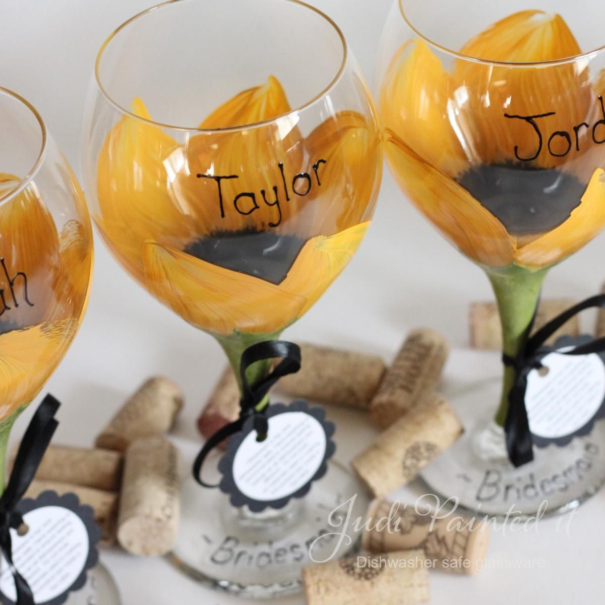 Hand Painted Wine Glasses Wholesale Sunflower Painted Wine Glass That Is Dishwasher Safe