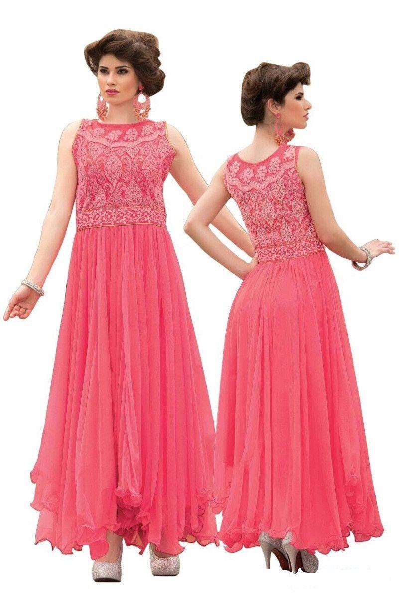 Best Designer Pink Indian- Pakistani Fancy Anarkali Gown