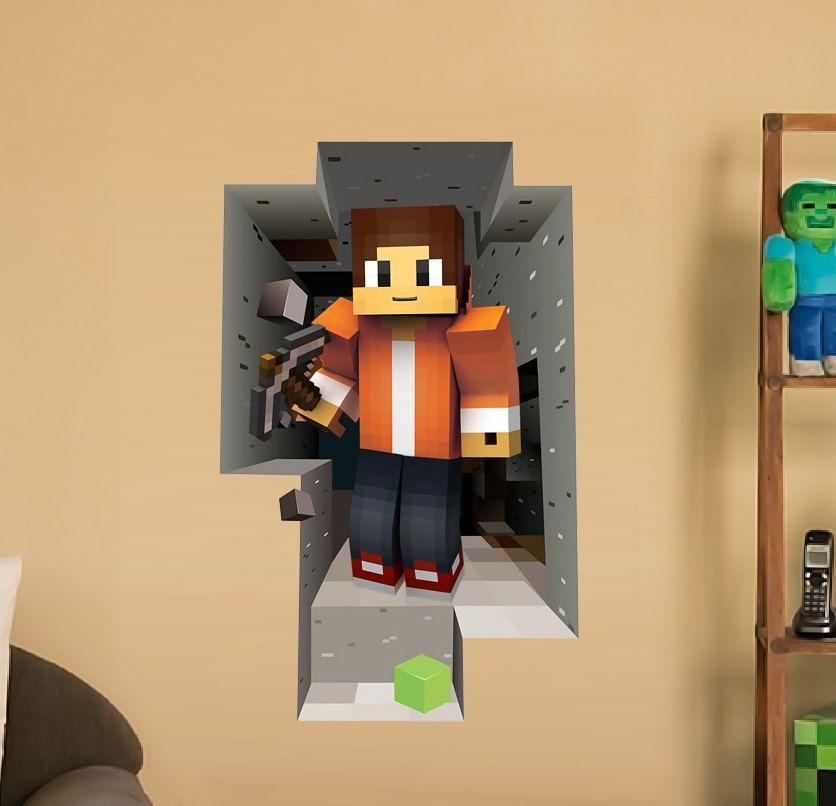 Wall decal Birthday Party Minecraft themed decor Playroom decoration ...