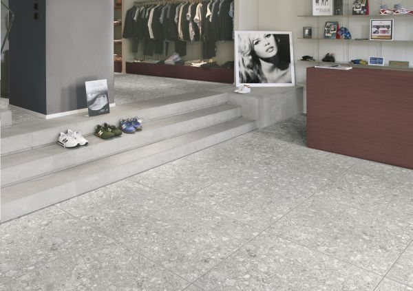 Simple But Stunning Grey Terrazzo Floor Tiles From