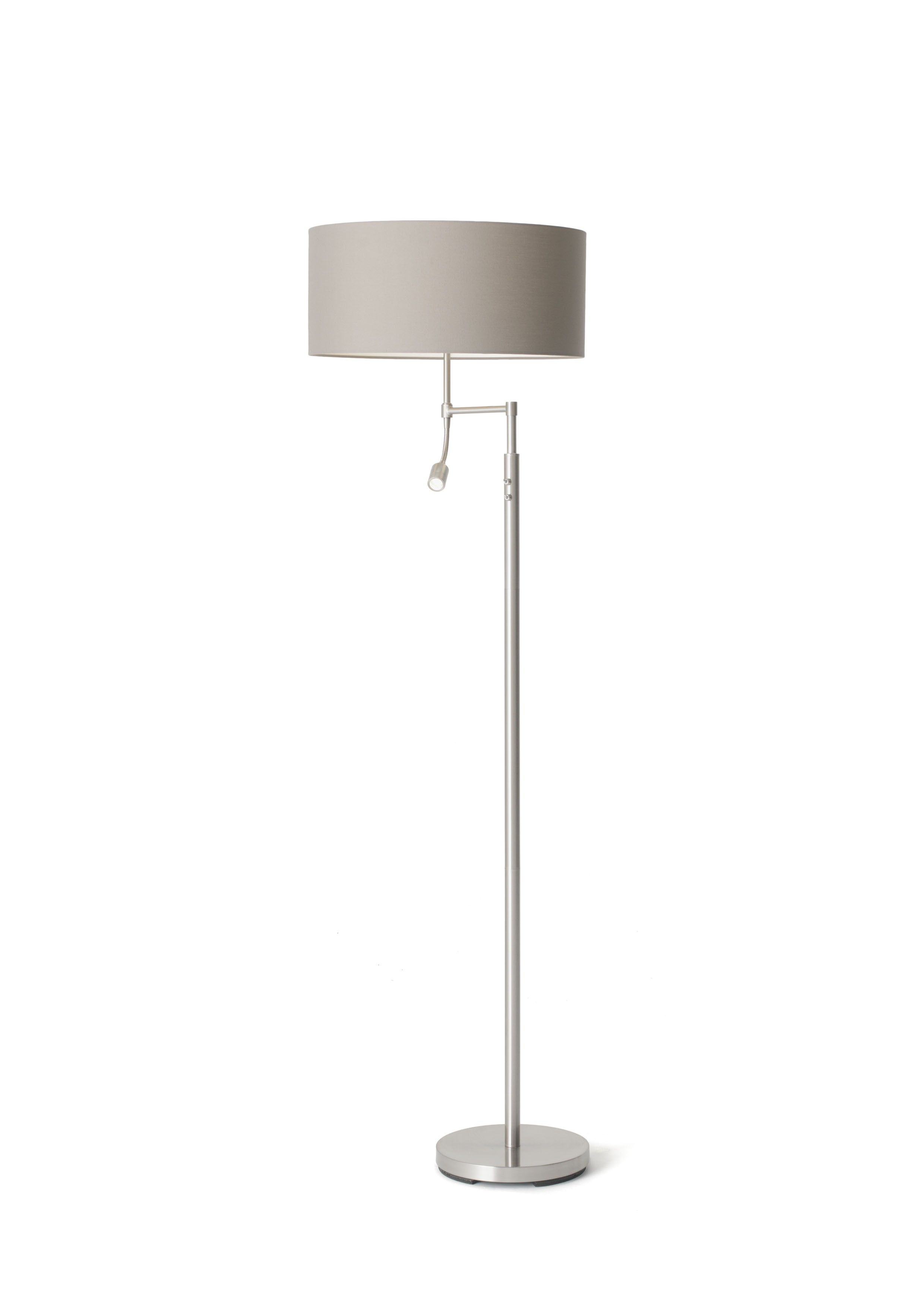 Oslo floor lamp with polycotton grey shade aflair lighting oslo floor lamp with polycotton grey shade aloadofball Images