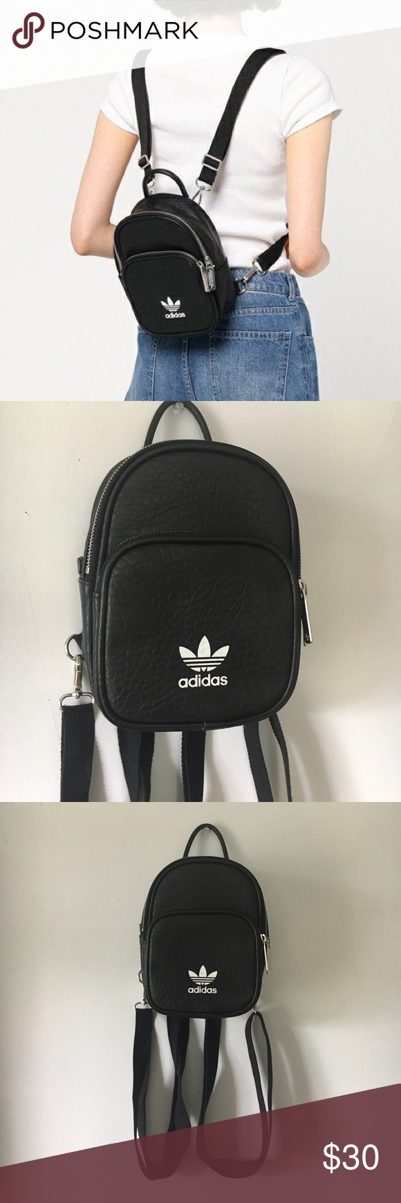 Mini Adidas Faux Leather Backpack Authentic Adidas vegan leather backpack  with adjustable straps. White makers f2508a6fdd7b