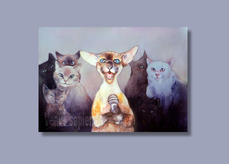 Karaoke Cat Large Print Giclee 8x10in A4 A3 Medium Cute Kitty Art Print Nursery Wall Art Gift For Loved Ones Portrai Art Prints Nursery Wall Art Art