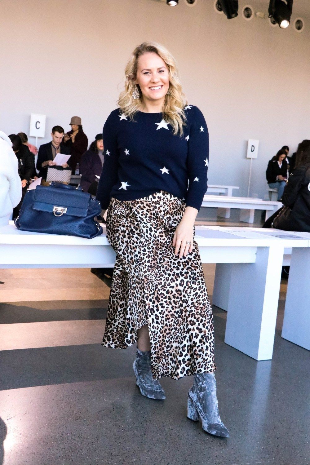 b497f18b072 Another Print Mixing Outfit That I Wore During NYFW. This Star Cashmere  Sweater and Leopard