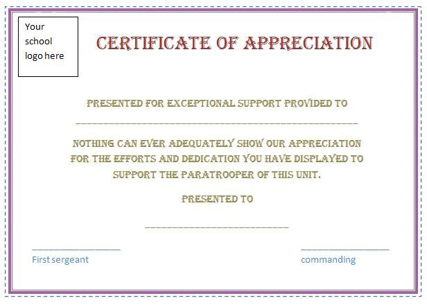 Free Certificate Appreciation Template Purple Border Employee