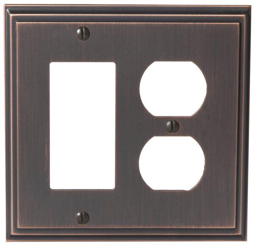 Amerock 1907011 Mulholland Single Rocker Double Outlet Switch Plate ...