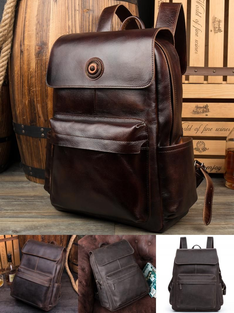 efdc53d117  Visit to Buy  100% Genuine Leather Backpack Large Capacity Cow Leather  Travel Bags