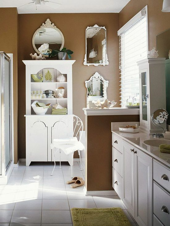 Baths with stylish color combinations cabinets mocha for Brown paint for bathroom
