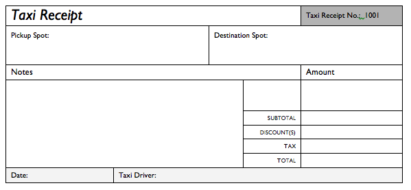 taxi bill format in excel taxi receipt template excel google