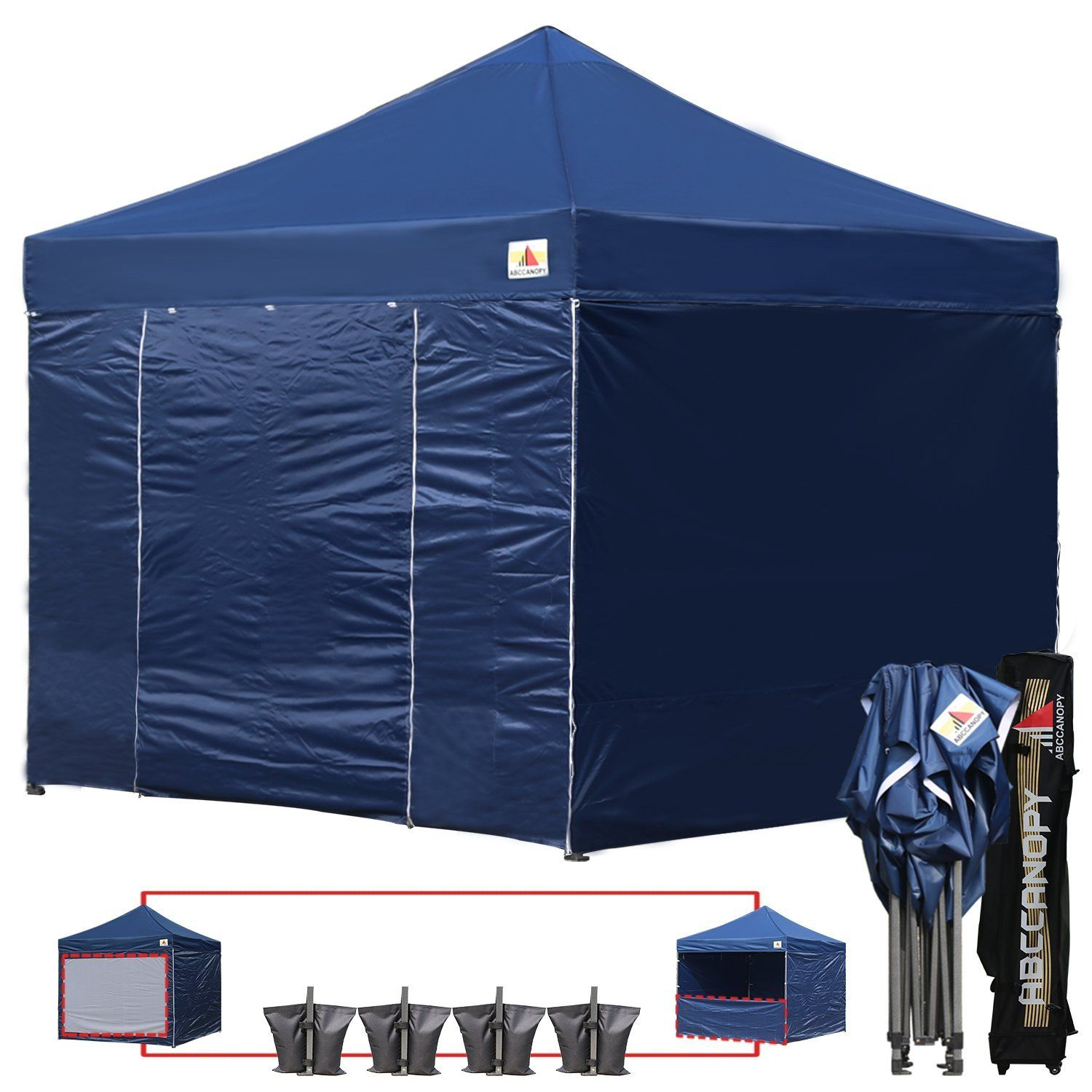 Amazon Com  Ef Bc  Colors Ef Bc Abccanopy Commercial X Ez Pop Up Canopy Party Tent Fair Gazebo With  Zipped End Sidewalls And Roller Bag Bonus X Weight
