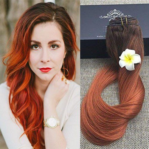 9 pcs best clip in auburn balayage hair extensions full shine full shine 9 pcs best rated full head clip in ombre extensions 100 gram color fading to with color ombre auburn balayage pastel clip in hair extensions pmusecretfo Choice Image