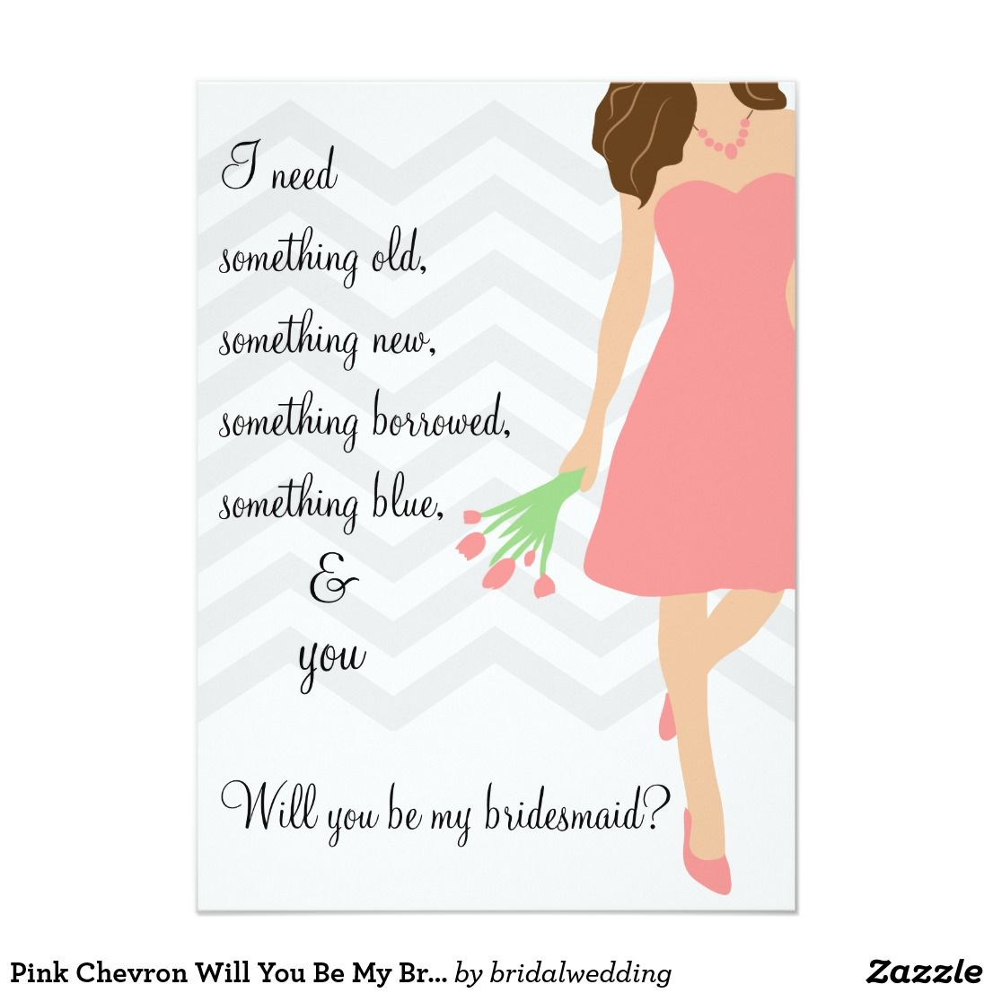 Pink dress illustration  Pink Chevron Will You Be My Bridesmaid Card A modern design with a