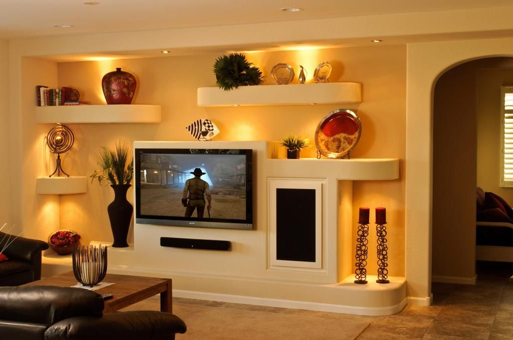 custom built wall entertainment centers drywall - Media Wall Design