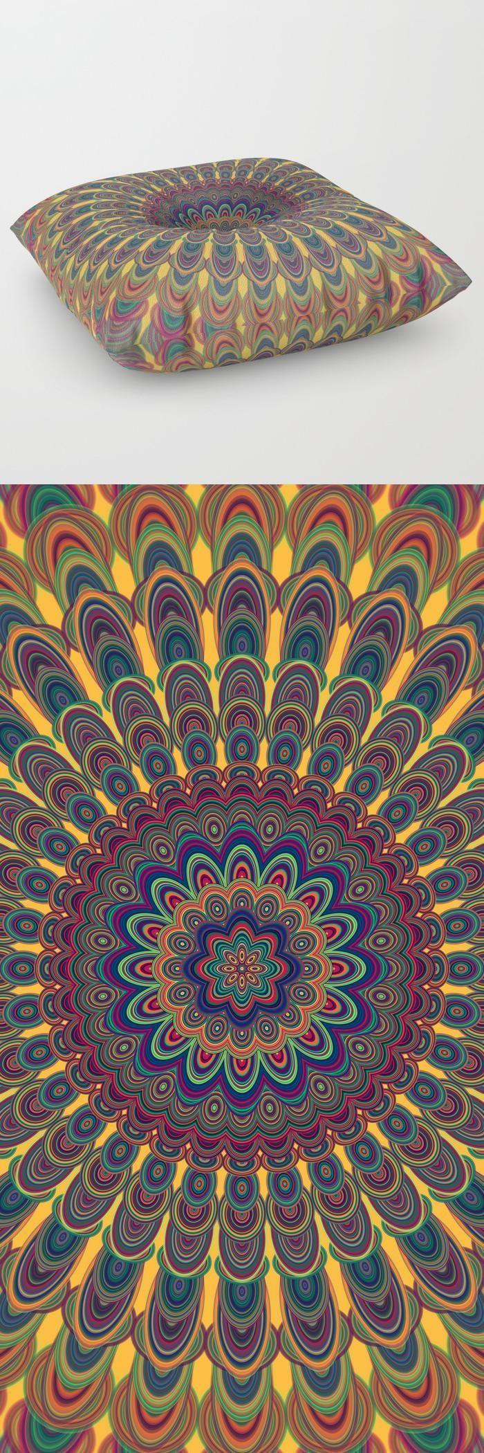 Bohemian Oval Mandala Floor Pillow by David Zydd | cozy bohemian bedroom floor pillows #MandalaPillow #mandala #floorpillow #pillow #cushioncover #throwpillows #room #homedecorideas #home #bohochic #bohemian #flowers #floralmandala #abstract #gift #xmas