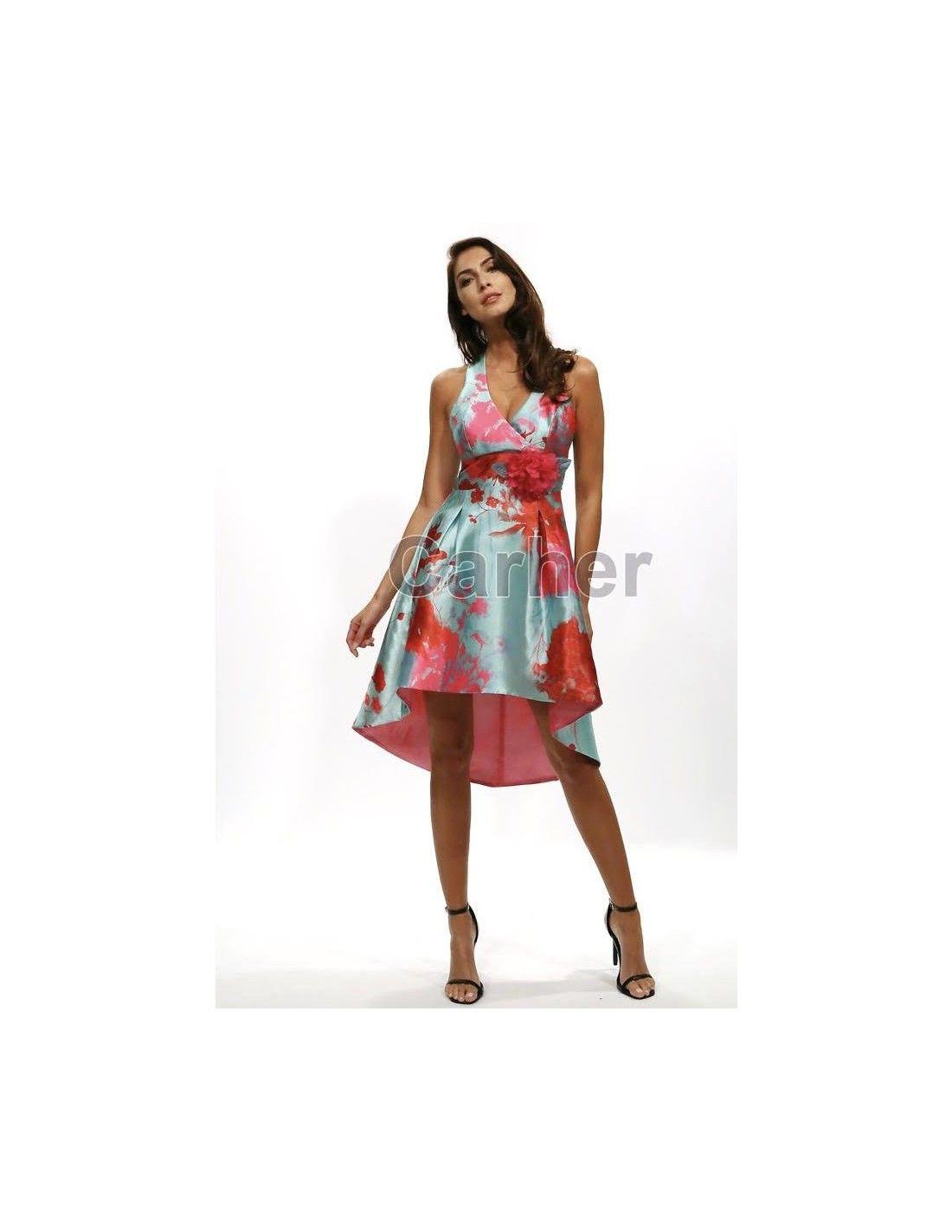 2df74b7393 Vestido Calista - Vestido asimétrico en color celeste con estampado en  color coral. Escote efecto
