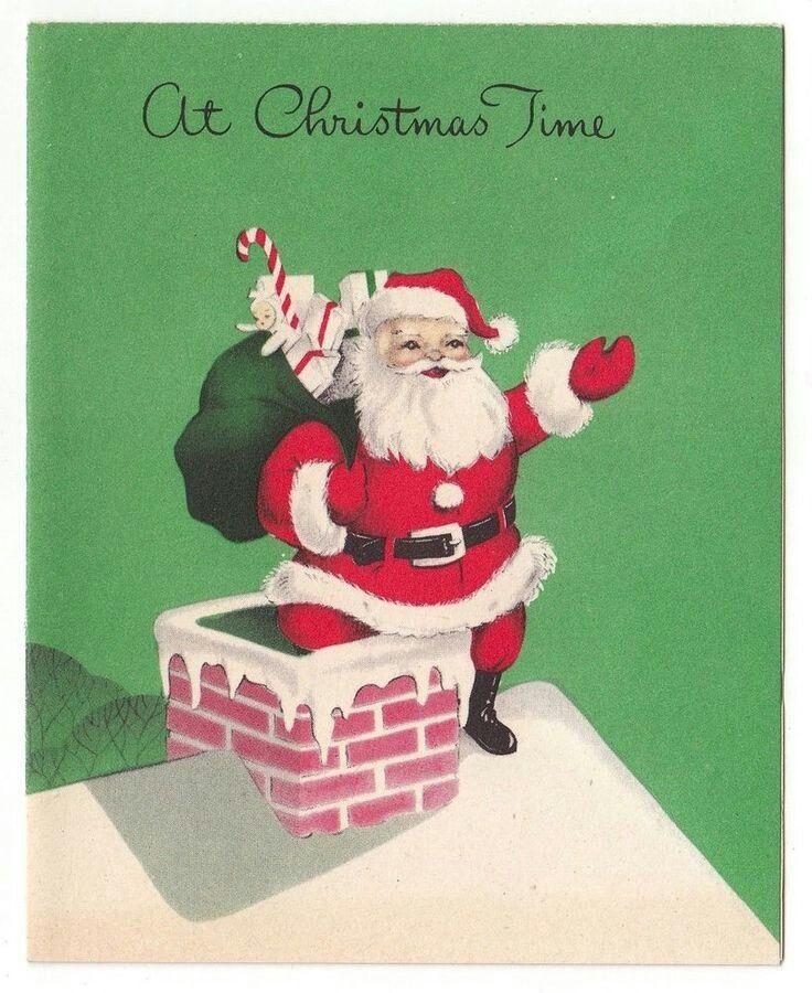 Santa going down chimney Vintage Holiday #2 Pinterest Santa