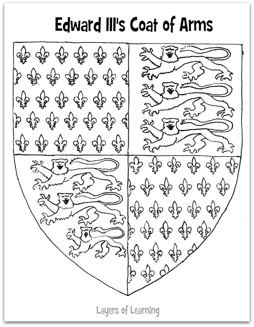 worksheet Coat Of Arms Worksheet edward iiis coat of arms printable and the hundred years war iii worksheet goes with medieval england
