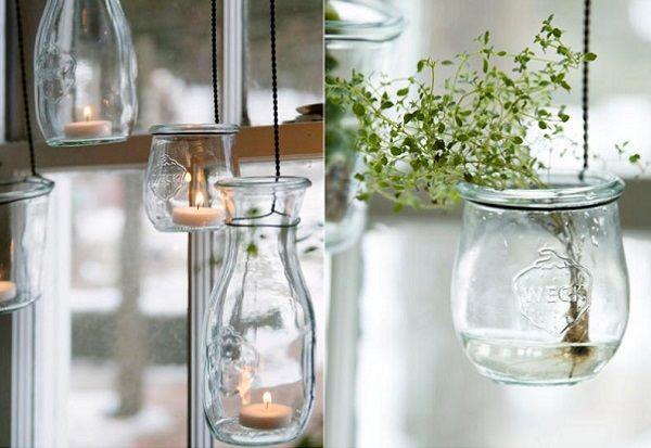 Hanging jars garden