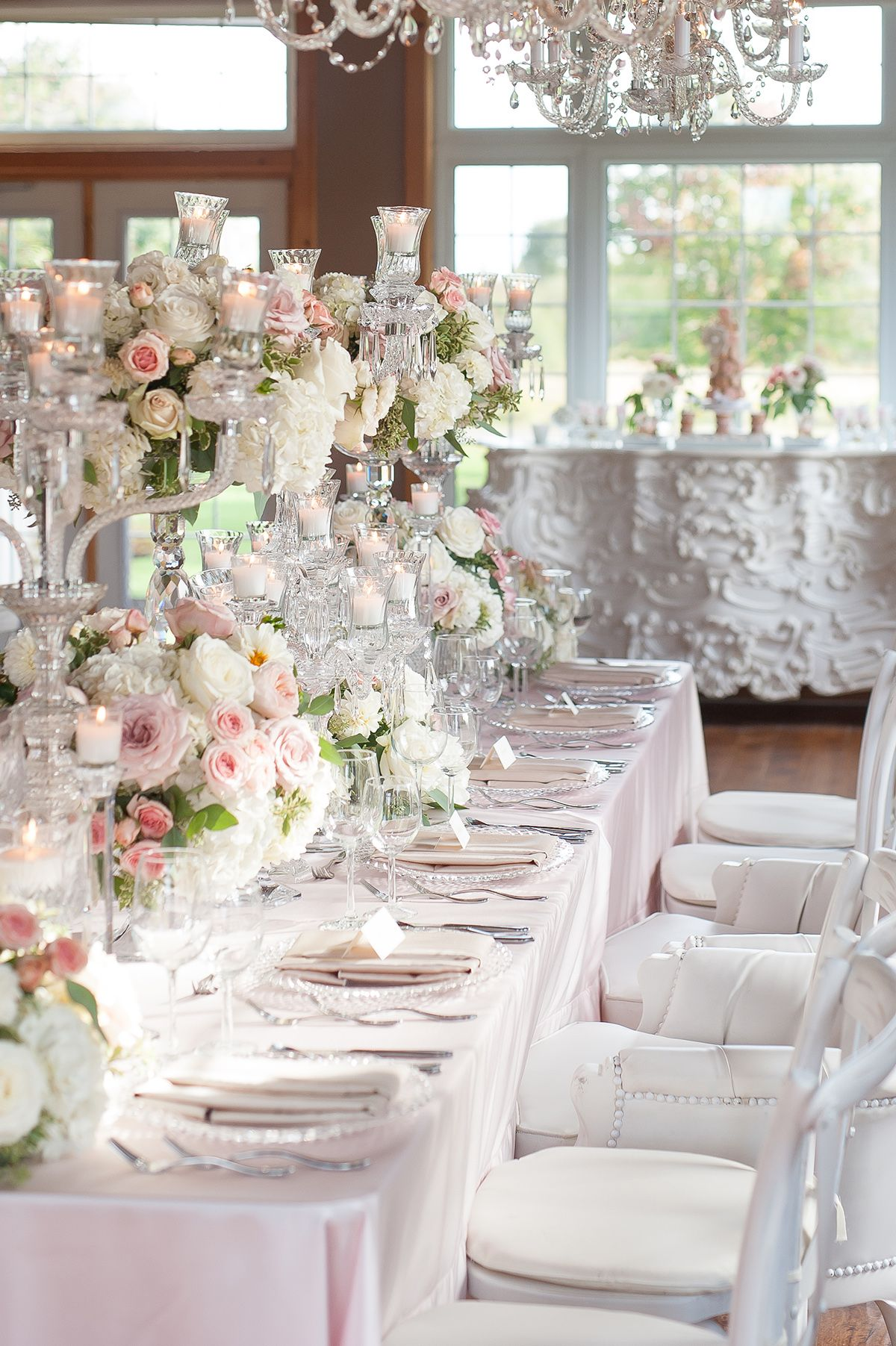 Blush Pink Ontario Winery wedding - romantic reception table with ...