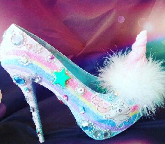 3a74bab8ace Size 9 rainbow unicorn high heel shoes rhinestones glitter glam bubble gum  goth www.pamzylove.com