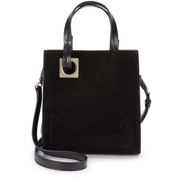 Halston Heritage Leather & Suede Tote Bag ($110) ❤ liked on Polyvore featuring bags, handbags, tote bags, black, leather man bags, leather tote, leather crossbody, leather crossbody tote and handbags crossbody