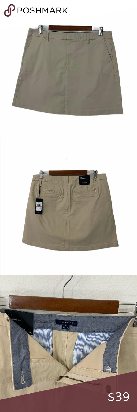 TOMMY HILFIGER NEW Women/'s Khaki Hollywood Mini A-Line Skirt TEDO