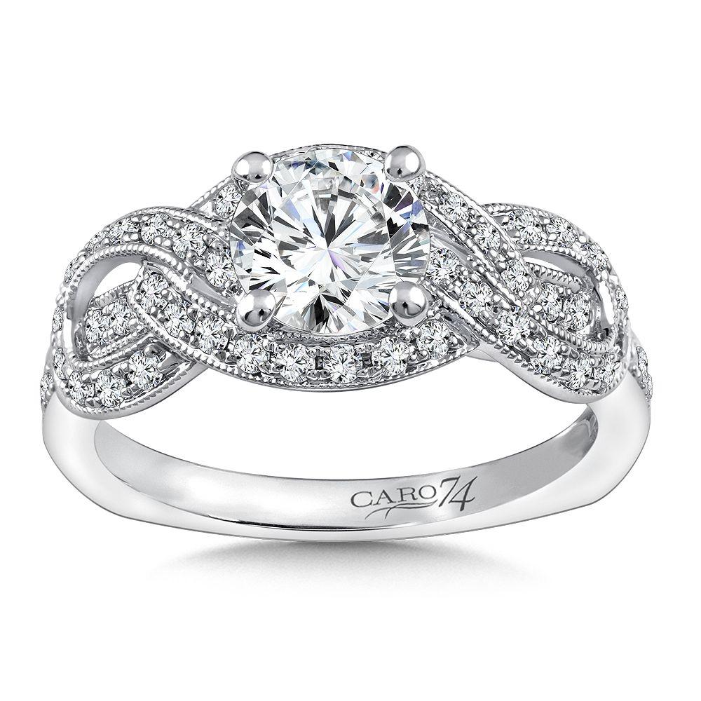 Diamond crisscross engagement ring mounting with milgrain