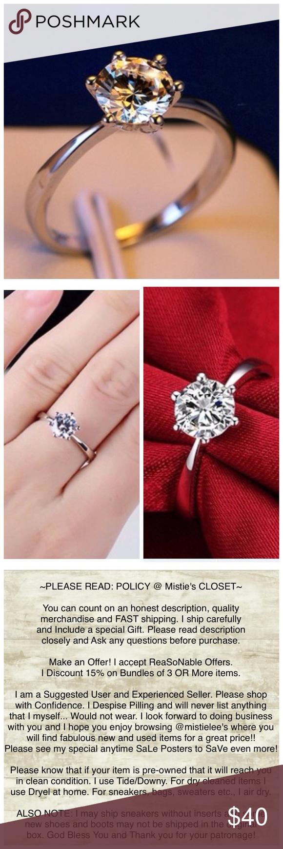 1 Carat CZ 6MM Silver Engagement Wedding Ring NEW   Cubic zirconia ...