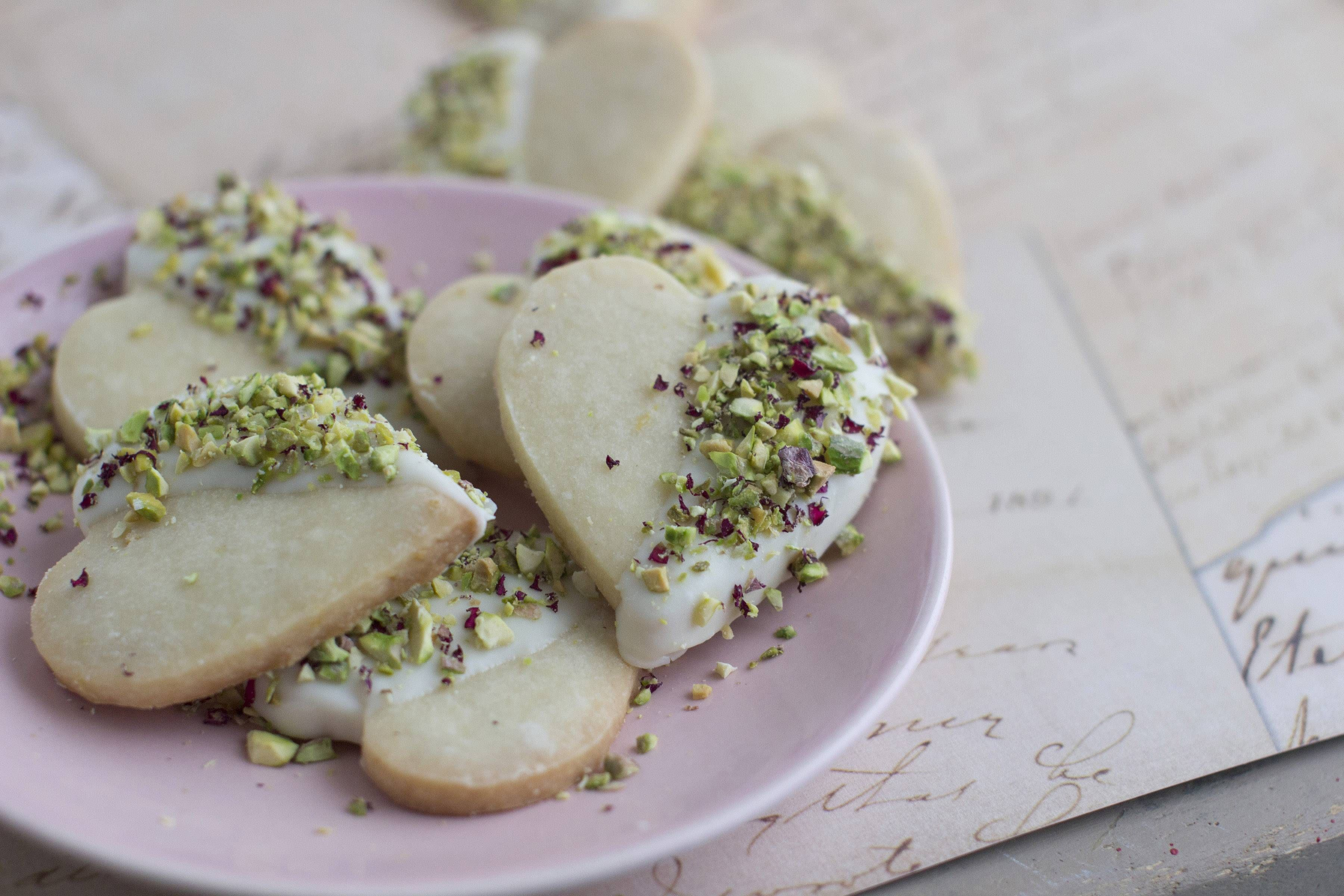 Rosewater adds exotic, seductive flavor to shortbread cookies.