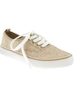 Girls Glitter Canvas Sneakers | Old