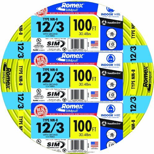 Southwire 63947628 12 3wg Nmb Wire 100 Foot Above Ground Household Wiring Use Copper Electrical Wire Residential Wiring Wire