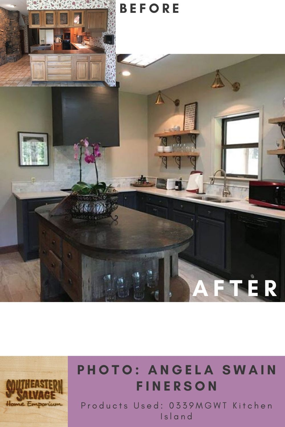 Kitchen By Angela Swain Finerson Reclaimed Wood Kitchen Island Southeastern Salvage In 2020 Reclaimed Wood Kitchen Island Wood Kitchen Island Wood Kitchen