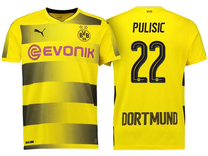 Borussia Dortmund  22 Christian Pulisic 17-18 Home Short Shirt ... 97d866ccd