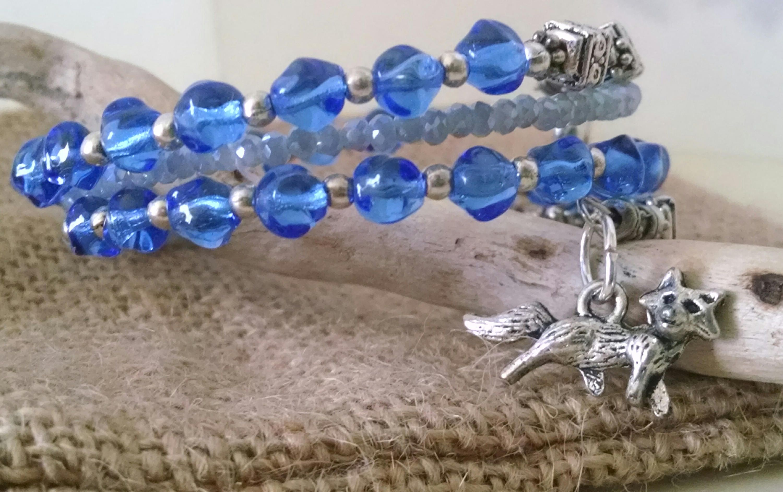 blue beaded wrap bracelet with horse charm fox hunter charm