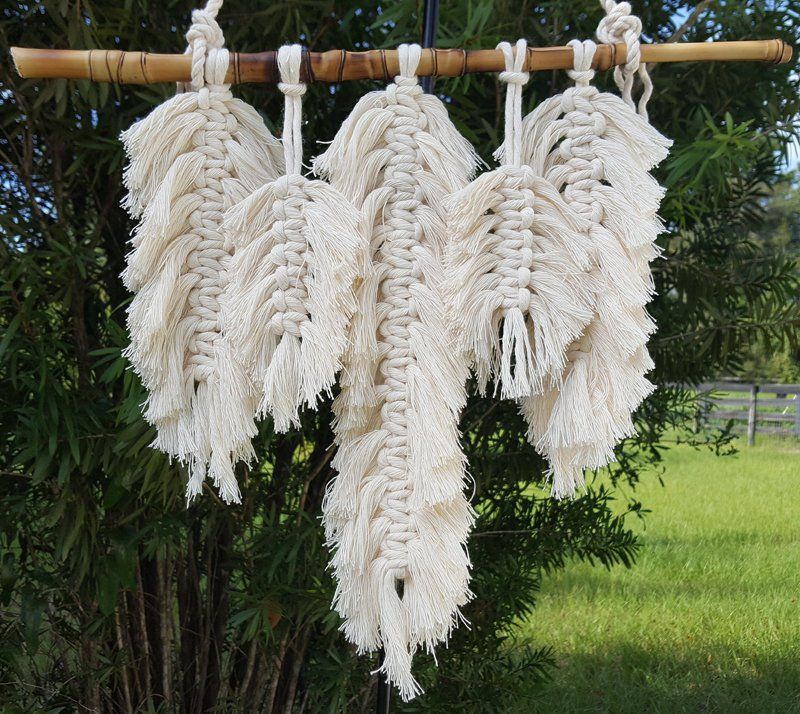 Small Macrame Wall Hanging With Feathers Boho Feathered